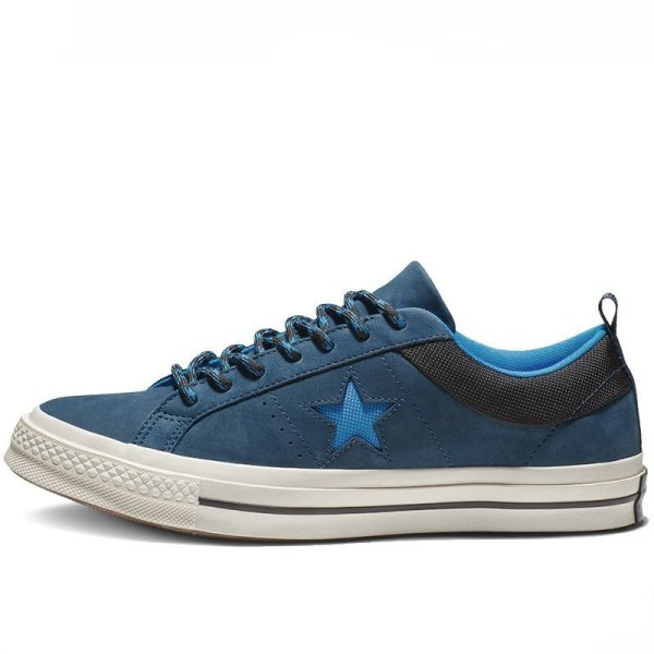 Converse boty One Star Sierra Leather Low Top Blue Fir left