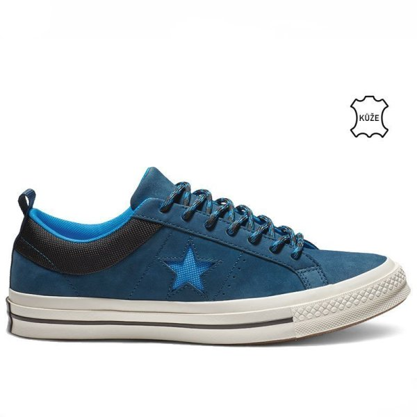 Converse boty One Star Sierra Leather Low Top Blue Fir right