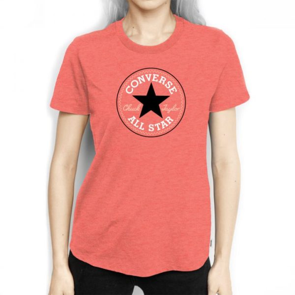 Converse tričko Solid Chuck Patch Crew Orange girl