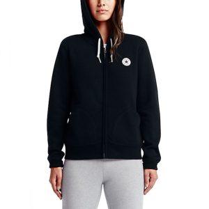Mikina Converse Core Full Zip Hoodie Black Mid WT front2