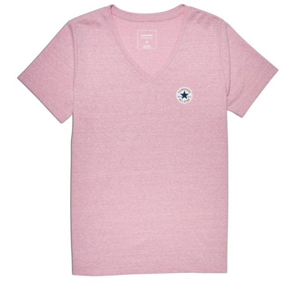 damske tricko Converse Core Triblned TPU Vneck Tee Orchid front